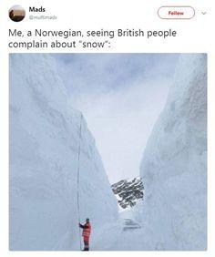 Scandinavians make fun of Brits panicking in the snow