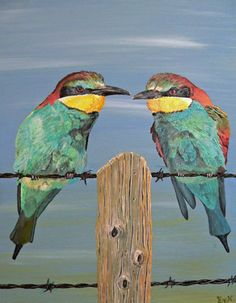 """Saatchi Online Artist Eric Kempson; Painting, """"On The Wire, Bee-eaters. """" #art"""