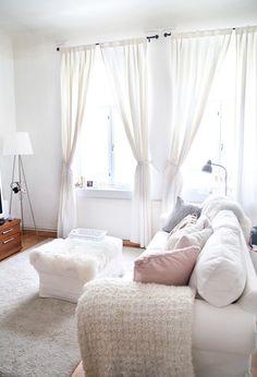 Bright white decor.