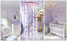 Pink Violet Baby Mobile handmade exclusive Dreamcatcher bedroom Baby Mobiles…