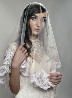 Wedding Veil  Fingertip TwoTier Spanish Mantilla by AlisaBrides, $240.00