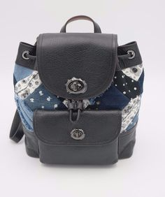 da894e4786d3 NWT Coach Blue Mini Turnlock Rucksack Canyon Quilt Denim Leather Backpack  37743  Coach  Backpack. Couture Designer Fashions