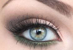 Eye Makeup Tutorial.  I like this eyeshadow color used as eyeliner.  It's a beautiful shade of jade green w/ a hint of copper.