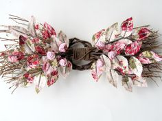 Fabric Leaf and Flower Swag - Spring Rose Garden Pink Red Summer Wreath. $45.00, via Etsy.
