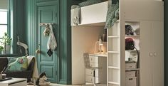 IKEA furniture and home accessories are practical, well designed and affordable. Here you can find your local IKEA website and more about the IKEA business idea. Kids Study Spaces, White Loft Bed, Turquoise Walls, Murs Turquoise, Teenage Room, Kids Room Design, Furniture Inspiration, Kids Furniture, Kids Bedroom