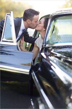 Classic car wedding kiss. Captured By: Erica Chan Photography http://www.weddingchicks.com/2014/06/20/handcrafted-barn-wedding-2/