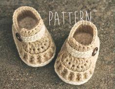 "Crochet Pattern ""Tiber Loafer"" baby boys crochet booties pattern, PATTERN ONLY"