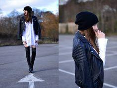 Jaqueta de couro Apitos, Alexander Wang Vestido, Zara Boots - - Elizabeth Hadfield vestido de camisa e couro