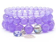 Bracelets – Set braceletes gemstones jade  Swarovski – a unique product by Blackif on DaWanda