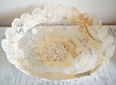 Doily bowls.  Made millions of these for our wedding.  I still use them to hold jewelry and such.