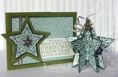 Bright and Beautiful Stampin Up Christmas Card and Decoration with Star Framelits by Claire Daly Stampin Up Demonstrator Melbourne Australia