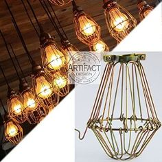 Industrial Vintage Style Hanging Pendant Light Fixture Brass Metal Wire Cage , Lamp Guard, Adjustable Cage Openings to Different Styles . Industrial Hanging Lights, Vintage Pendant Lighting, Industrial Lighting, Home Lighting, Industrial Style, Pendant Light Fixtures, Ceiling Pendant, Pendant Lamp, Ceiling Lights