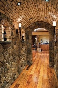 Basement ceiling ideas include paint, paneling, drop ceilings, and even fabric. HouseLogic has ideas, tips and costs for finishing your basement ceiling. Future House, My House, Wine Cellar Design, Stone Veneer, Wood Stone, Caves, My Dream Home, Beautiful Homes, House Plans