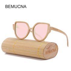 96f342700a8f 2017 New BEMUCNA Women Cat Eye Wood Sunglasses Brand Designer Sunglasses  Oval Frame Glasses polarization Sun