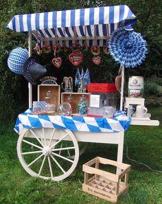 Der Oktoberfest-Candywagen. Als Candybar, Getränkebar, Sektbar, Sweettable, Cake bar, als Herrenbar, Brandybar, für Apéritiv, für Fingerfood oder besonderen Rahmen für Ihre Hochzeitstorte.