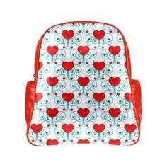 Aqua Flourish Heart Pattern Multi-Pockets Backpack (Model 1636)