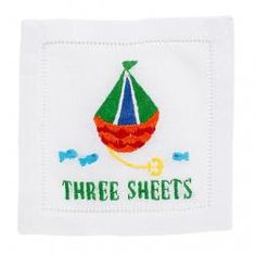 Set of 4 embroidered cocktail napkins on linen.  Packaged in gift box.    6' X 6'