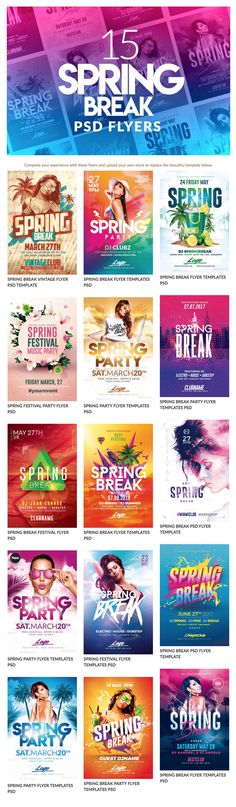 + 15 BEST SPRING BREAK FLYER PSD TEMPLATES - Best Spring Break Flyer Psd that you can use during the season. #flyer #template #psd #spring #break #springbreak #party #event #festival #creative #flyers