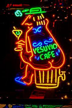 Vesuvio Cafe Neon Sign, North Beach in San Francisco