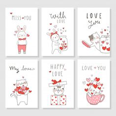 Draw vector set card for valentine's day. Valentines Day Cards Diy, Valentines Day Background, Homemade Valentines, Valentine Crafts, Printable Valentine, Pop Stickers, Printable Stickers, Valentine's Cards For Kids, Cards For Friends