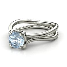 Round Aquamarine 14K White Gold Ring That would make a stunning engagement ring and out of the ordinary
