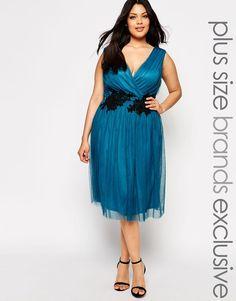 Little Mistress Plus Wrap Front Midi Dress With Lace Applique Waist