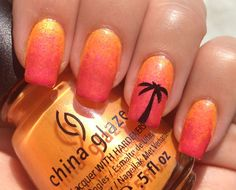 Sunset Beach Nail Art -im becoming obsessed with that palm tree Gorgeous Nails, Love Nails, How To Do Nails, Pretty Nails, Fun Nails, Fingernail Designs, Gel Nail Art, Nail Art Designs, Nail Polish
