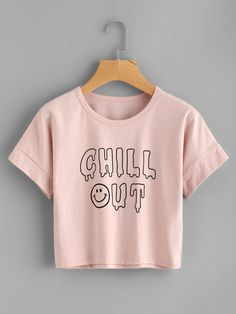 Shop Slogan Print Tee at ROMWE, discover more fashion styles online. Girls Fashion Clothes, Teen Fashion Outfits, Trendy Outfits, Crop Top Outfits, Crop Top Shirts, Crop Tops, Geile T-shirts, Jugend Mode Outfits, Belly Shirts