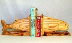 OOAK Hand Carved FISH Wood Bookends Office Man Cave Executive Decor BookEnd Fish
