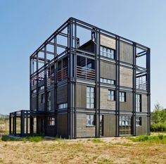 Alexey Rozenberg&Peter Kostelov by Russia Sea Container Homes, Container House Design, Shipping Container Homes, Container Office, Container Buildings, Container Architecture, Facade Architecture, Steel Frame House, Steel House