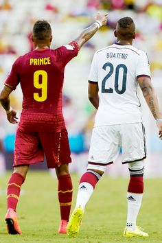 #Brazil 2014 - Ghana player Kevin Prince Boateng and brother Jerome Boateng, Germany. ♥