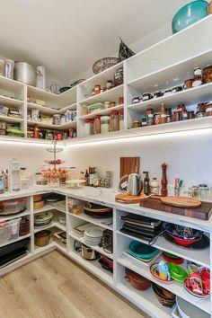 For cooks and bakers, open shelves in a scullery makes working in here a breeze … – Own Kitchen Pantry Kitchen Pantry Cupboard, Pantry Laundry Room, Kitchen Pantry Design, Kitchen Organization Pantry, Walk In Pantry, Kitchen Decor, Pantry Shelving, Pantry Storage, Open Shelving