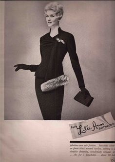 1959 Lilli Ann suit, black wool with silver fox drapery that hangs down front, standing collar and 'v' neckline