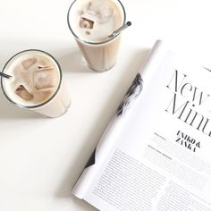 iced coffee + magazine