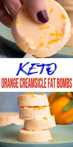 Keto fat bombs you won't be able to pass up! {Easy} low carb keto fat bomb recipe for the best Orange Creamsicle fat bombs. Perfect for ketogenic diet w/ keto friendly ingredients. Great keto snacks on the go, k Keto Snacks, Snack Recipes, Dessert Recipes, Smoothie Recipes, Breakfast Recipes, Low Sugar Snacks, Yogurt Recipes, Breakfast Cereal, Entree Recipes