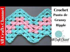 How to Crochet Granny Ripple Pattern - Crochet Videos Zig Zag Crochet, Crochet Ripple Afghan, Crochet Baby Blanket Free Pattern, Stitch Crochet, Crochet Granny, Granny Pattern, Crochet Afgans, Crochet Stitches For Beginners, Crochet Stitches Patterns