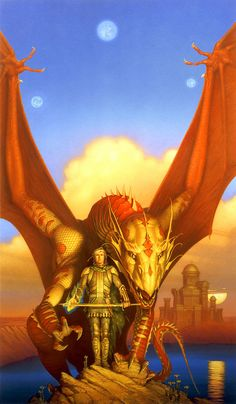 This classic painting for SKYBOWL by Melanie Rawn features signature Whelan cover art traits. It's a majestic portrait of the hero and the dragon so any dragon fan would be intrigued, but in the head bandage, the glowing flame, and the sad but resolute look in the hero's eyes, the loyal reader can see the epic struggle about to be resolved.
