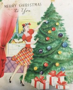 Woman decorating the tree