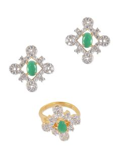 gold, green brass, stone set - Online Shopping for Sets