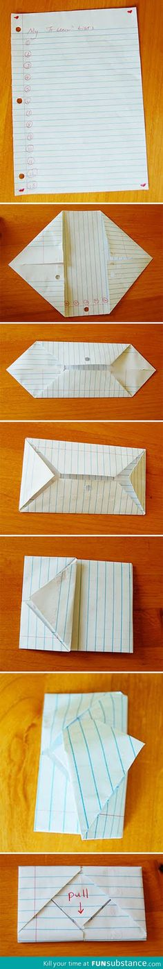 How to fold a note envelope  I remember doing this all the time