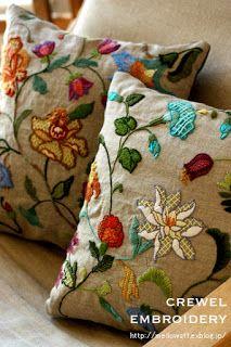 """Милые сердцу штучки: Вышивка crewel: """"Еще две диванные подушки от Sumiko Taniuchi (Япония)"""""""