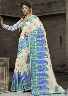 Alluring Off White Cotton Saree - http://ethanica.myshopify.com/products/alluring-off-white-cotton-saree  #sarees #partywearsarees