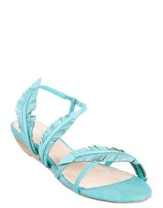 Blue Lagoon leather feather sandals