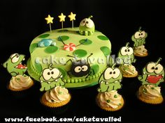 Childrens Birthday Cakes - cut the rope cake & cupcakes Fall Birthday, 2nd Birthday Parties, Birthday Ideas, Fall Party Games, Little Girl Birthday Cakes, Video Game Cakes, Cut The Ropes, Pear Cake, Cake Toppings