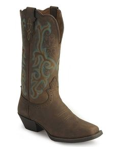 justin cowgirl boots for women | Justin Stampede Western Cowgirl Boots with Rubber Sole - Square Toe Justin Cowgirl Boots, Cowgirl Style, Gypsy Boots, Hunting Boots, Vintage Boots, Equestrian Outfits, Dress With Boots, Dress Shoes, Cool Boots