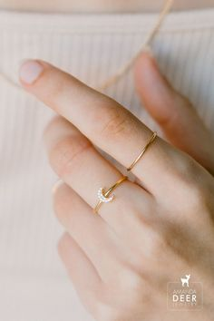 Add some subtle sparkle to your day with our mini cz moon ring. The most delicate band and tiny little moon. It's adorable. Dainty Jewelry, Initial Necklace, Stacking Rings, Initials, Delicate, Sparkle, Band, Stars, Sterling Silver