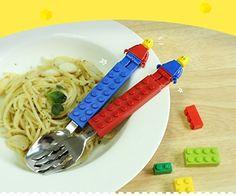 Oxford Block Brick Figure Flatware Spoon Fork Utensil Set Toddler Kids Children