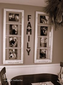 cottage instincts: What to do with old windows. Display photos in them