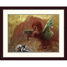 """Global Gallery 'Pegasus and Hydra' by Odilon Redon Framed Painting Print Size: 30.23"""" H x 38"""" W x 1.5"""" D"""
