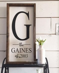 Darling family established board rustic wood sign. Love this farmhouse sign!